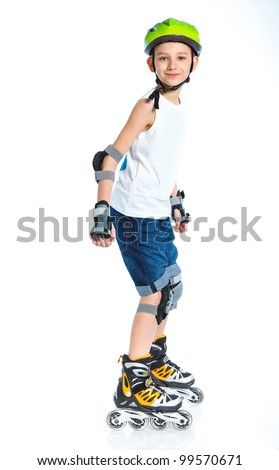 Cute young boy skater isolated on white background - stock photo