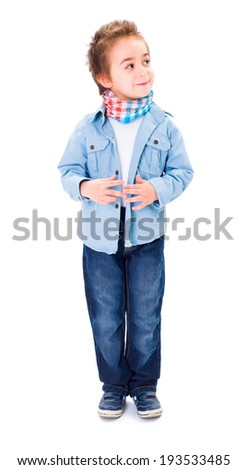 Cute young boy thinking and looking sidelong on white background - stock photo