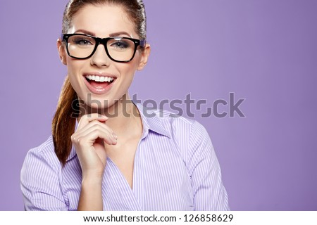 Cute young business woman with glasses - stock photo
