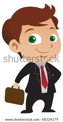 Cute young businessman with a positive attitude holding a briefcase - raster version. - stock photo