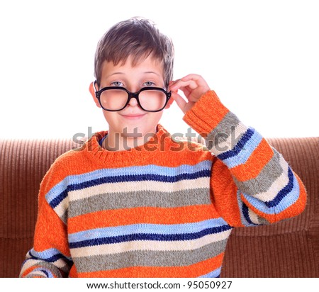 Cute young child wearing eyeglasses
