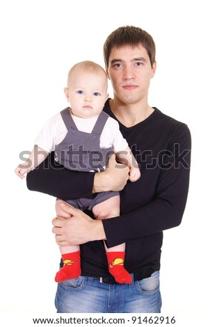 cute young dad and his baby on white