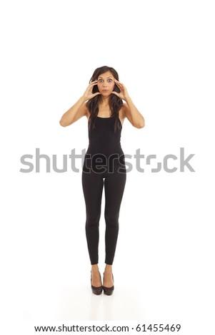 Cute young energetic girl wearing black - stock photo
