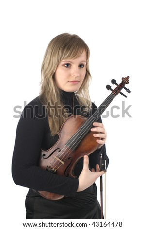Cute young female violinist over white background - stock photo