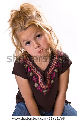 Cute young girl begging or saying please. - stock photo