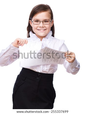 Cute young girl business, isolated over white