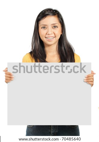 cute young girl holding a big blank card - stock photo