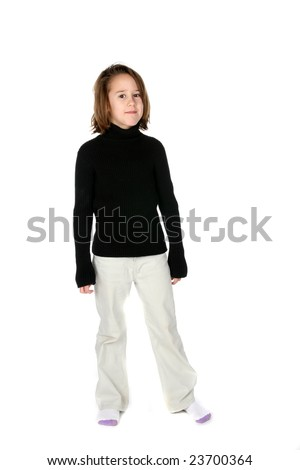 cute young girl in black turtleneck shirt on white background