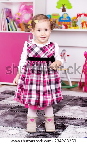 Cute young girl inside  - stock photo