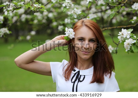 cute young girl with flowers