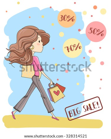 cute young girl with long hair. Big sale labels/30%, 50%, 70%. Template for design cards, notebook, shop, poster and sale/Print for T-shirt. Character design.