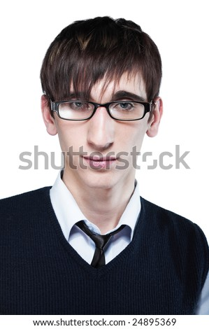 Cute young guy with fashion haircut wearing glasses, on white