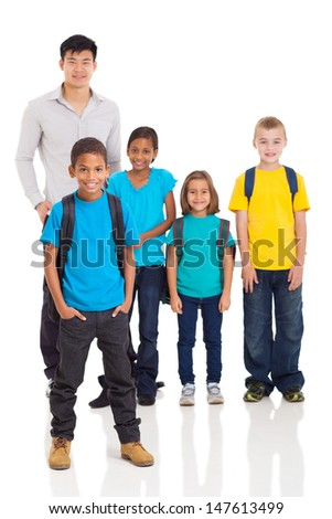 cute young indian boy in front of classmates and teacher isolated on white - stock photo