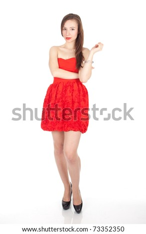 cute young long hair lady in red dress, series