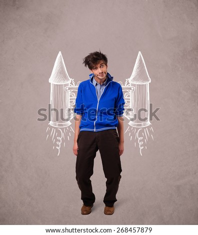 Cute young man with jet pack rocket drawing illustration - stock photo