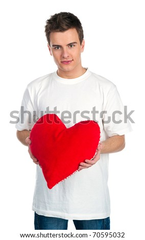 Cute young men with a red hearts over white - stock photo