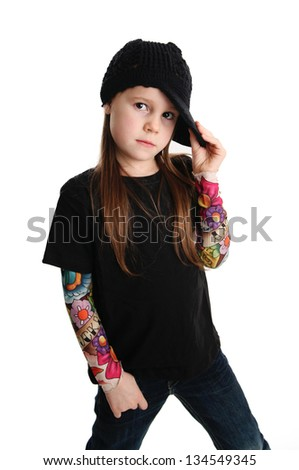 Cute young preschool age girl isolated on a white background, wearing tattoo punk clothes and rock star - stock photo