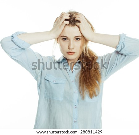 cute young pretty girl thinking on white background isolated close up - stock photo