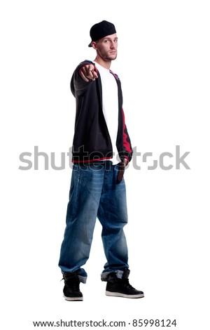 cute young rapper point fingers - stock photo