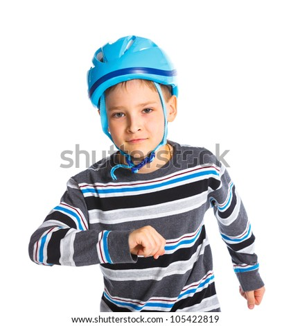 Cute young skater isolated on white background