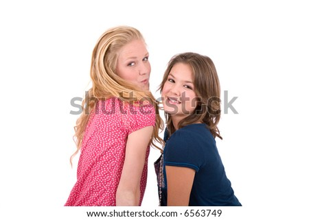 Cute young teenage girls on white background