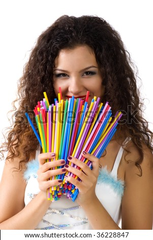 Cute young woman hold a lot of colorful straws. Studio shot - stock photo
