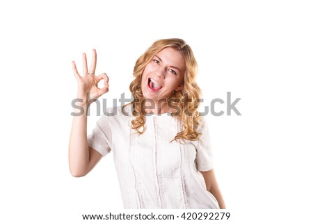 Cute young woman smiling, happy, positive, excited woman on plain background, with text space