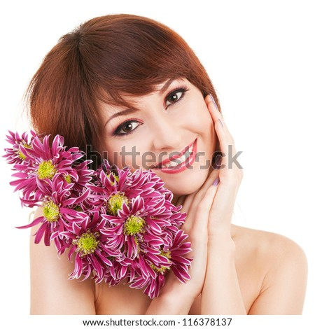 Cute young woman with flowers