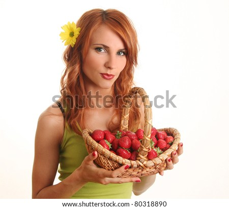 cute young woman with strawberry