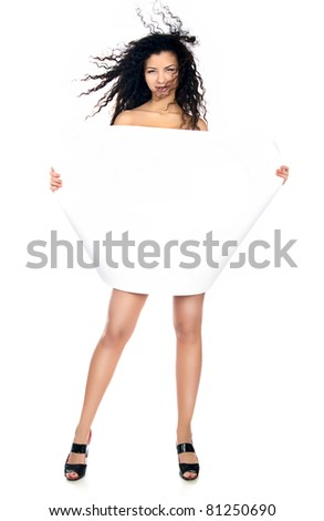 Cute young women with a blank over white - stock photo