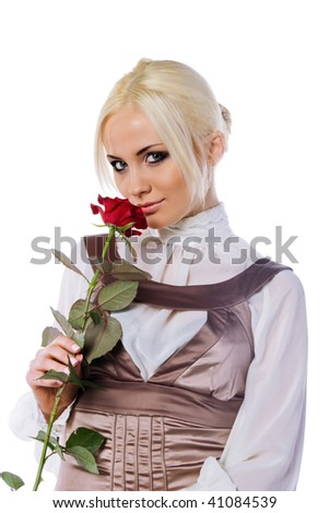 Cute young women with red rose. White background - stock photo