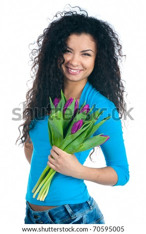Cute young women with the flowers over white backgroung - stock photo