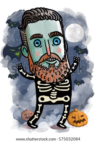cute zombie skeleton costume halloween character  sc 1 st  Shutterstock & Cute Zombie Skeleton Costume Halloween Character Stock Illustration ...