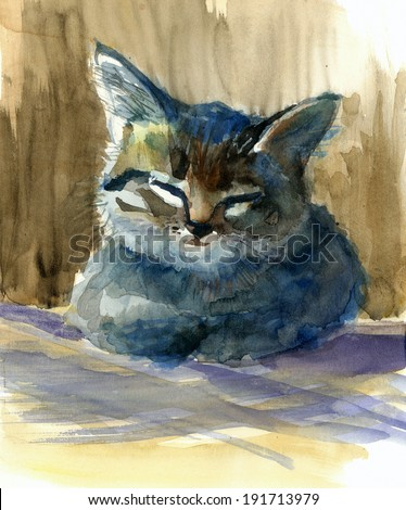 Cutest dreaming kitten watercolor painting illustration - stock photo