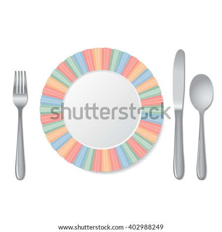 Cutlery and plate isolated on a white background.