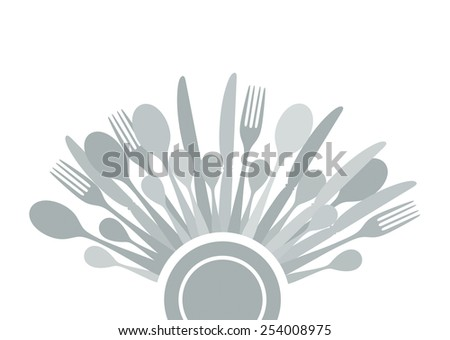 cutlery arranged as half circle around plate - stock photo
