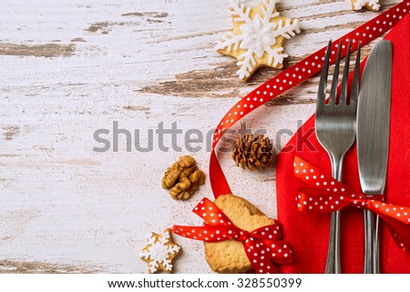 Cutlery decoration with bow festive for christmas holiday - stock photo
