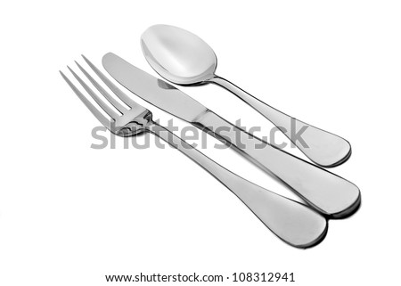 Cutlery - fork knife and spoon on white - stock photo