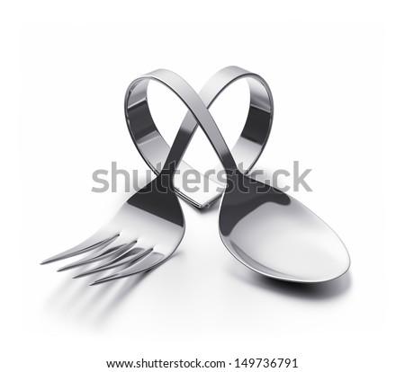 Cutlery  heart - stock photo