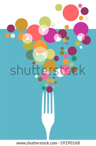 Cutlery icons. One fork silhouette with colorful circles on light blue background.