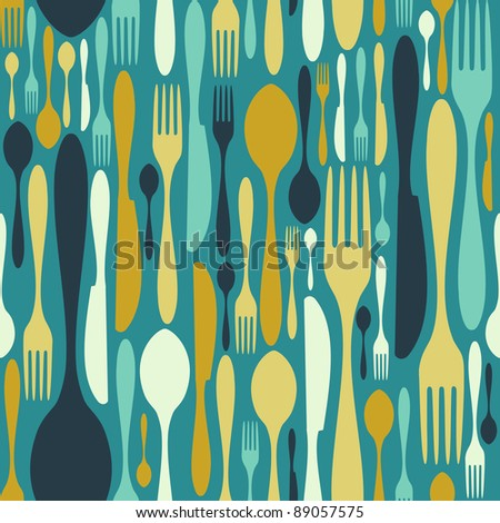 Cutlery icons seamless pattern background. Fork, knife and spoon silhouettes on different sizes and colors. - stock photo
