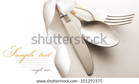 cutlery - knife, spoon and fork . isolated on a white background - stock photo
