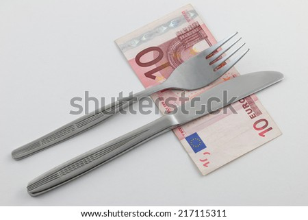 Cutlery on Euro banknote
