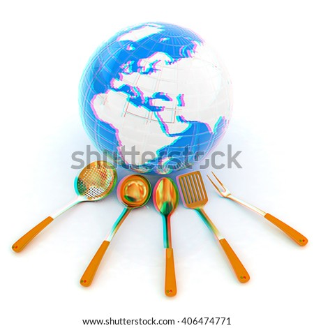 cutlery on white background around Earth. 3D illustration. Anaglyph. View with red/cyan glasses to see in 3D. - stock photo