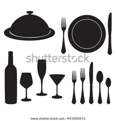 Cutlery raster set with black silhouette of wine bottle, wine glass, champagne and cocktail glasses, closed tray, plate, fork, knife and spoon.