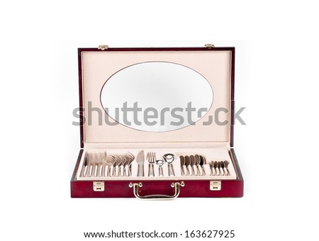 Cutlery red case whit  on white background - stock photo
