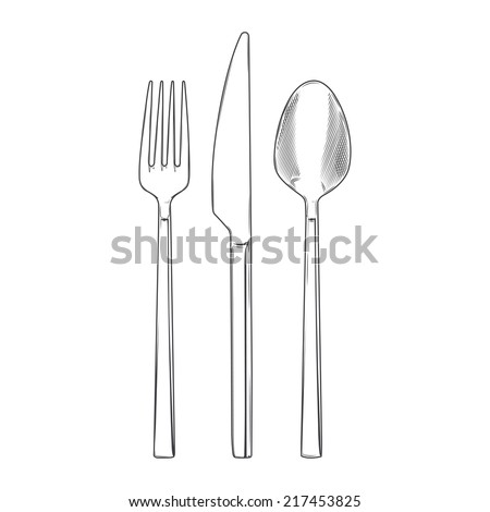 Cutlery set of fork, knife and spoon isolated on a white background. Hand drawn line art. Cookware retro design. Raster copy - stock photo