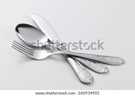 cutlery set on the white background - stock photo
