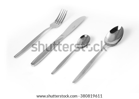 Cutlery set with Fork, Knife and Spoon isolated - stock photo