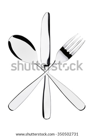 Cutlery set with Fork, Knife and Spoon isolated on white background - stock photo